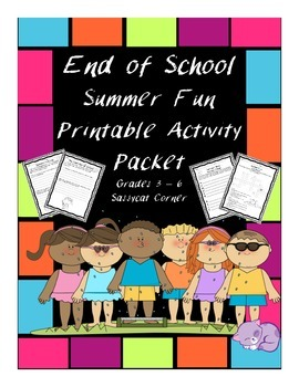 End of School Summer Fun Puzzles and Activity Pages