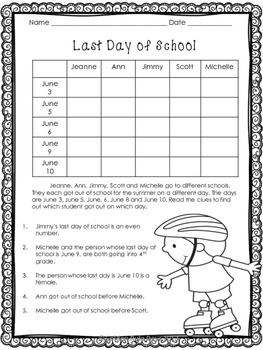 End of the Year & Summer Logic Puzzles for Critical Thinking! Gr. 2, 3 & 4