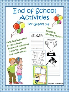 End of School Writing Activities for Elementary Grades