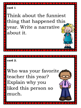 End of School Writing Prompts Task Cards for Upper Elementary/Middle School