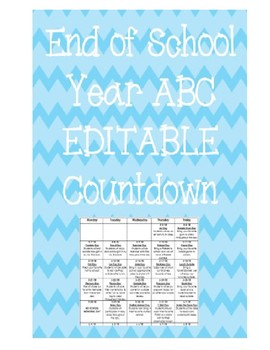 End of School Year ABC Countdown - EDITABLE