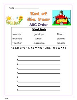 End of School Year ABC Order worksheet
