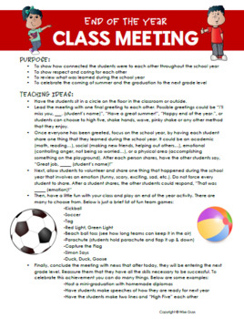 End of the Year Activities Class Meeting Idea