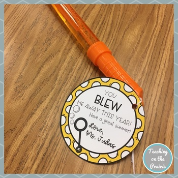 End of School Year Bubble Wand Gift Tags-Editable