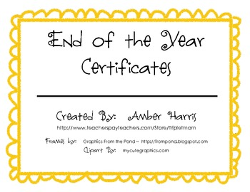 End of School Year Certificates