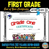End of Year Certificates - First Grade (Print and Write) 2019-2023