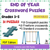 End of School Year Crossword Puzzles Collection - 31 Uniqu