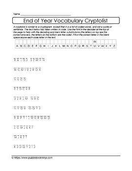 End of School Year Cryptolist & Jumbled Letters Collection - 38 Unique Puzzles