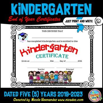 End of Year Certificates - Kindergarten