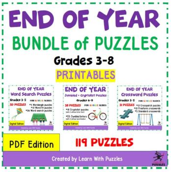 End of School Year Puzzles Bundle - 85+ UNIQUE Puzzles For Student Engagement