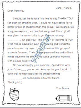 End of School Year Thank You Letter to Parents (Editable) *RECENTLY UPDATED*