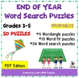 End of School Year Word Search Puzzles - 50 Unique Puzzle Collection - Gr. 3-5