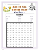End of School Year Word Search