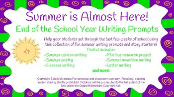 End of School Year Writing Prompts!