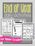 End of School Year daily activities