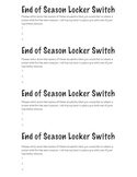 End of Season Locker Switch Partner Choice Sheet
