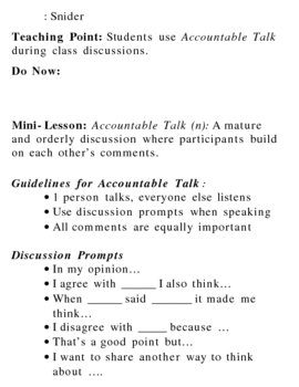End of Semester Discussion/Accountable Talk Lesson