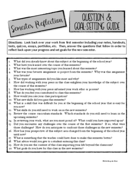 End of Semester Reflection Guide, Goal Setting, and Metacognition FREEBIE