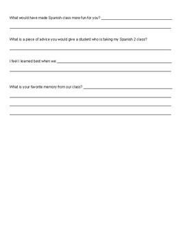 End of Semester Spanish Class Survey