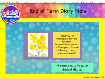 End of Term Diary Note