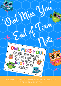 End of Term Note 'Owl Miss You'