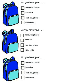 End of The Day Backpack Checklist