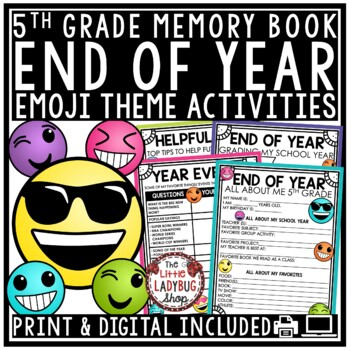 Emoji End of The Year Activities 5th Grade Memory Book