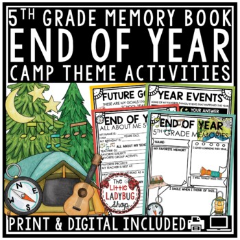 Camping Theme- End of The Year Activities 5th Grade Memory Book