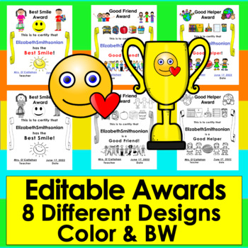 End of the Year Awards Editable for PreK, Kindergarten, First Grade