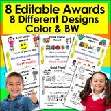 End of the Year Awards Editable for PreK, Kindergarten, First Grade