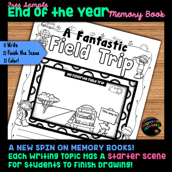 End of Year Memory Book: Writing + Unfinished Scenes for Coloring {FREE SAMPLE}