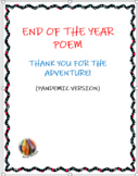 End of The Year Poem- Thank You For The Adventure! (Pandem