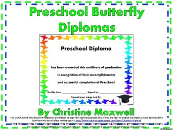 End of The Year Preschool Butterfly Diploma, Certificate or Award