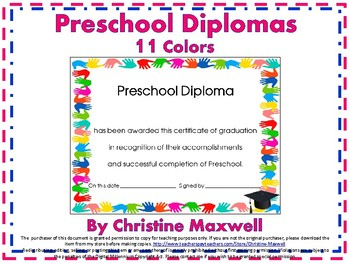 End of The Year Preschool Handprint Diploma, Certificate ...
