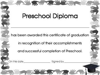 End of The Year Preschool Handprint Diploma, Certificate or Award