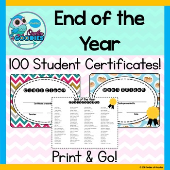 End of The Year Awards - Student Certificates
