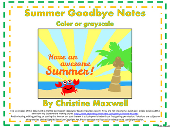 End of The Year Summer Goodbye Notes