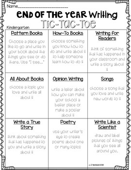 End of The Year Writing Activity--Writing Tic Tac Toe (EDITABLE)