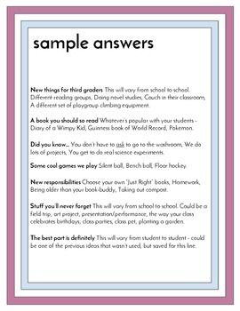 End of 3rd Grade Advice Letters