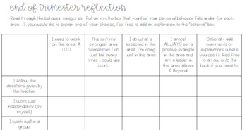 End of Trimester Behavior Reflection and Goal Setting