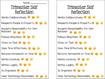 End of Trimester Emoji Reflections {Editable}