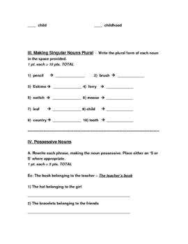 End of Unit Nouns Test