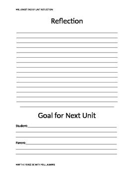 End of Unit Student Reflection