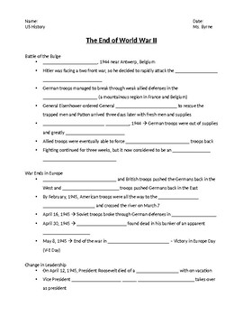 End of WW2 notes
