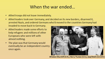 End of WWII - Cold War Begins - Truman Doctrine - Marshall Plan
