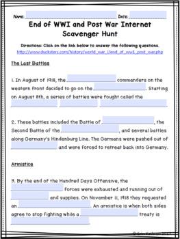 End of World War I & Post War Internet Scavenger Hunt WebQuest Activity