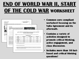 End of World War II, Start of the Cold War worksheet