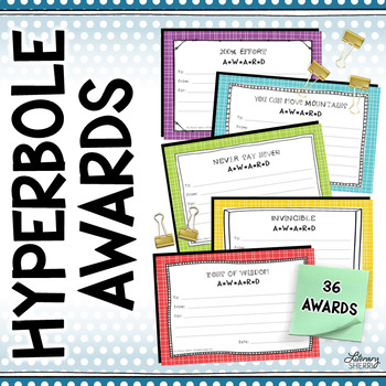End of Year Awards: Hyperboles --> 4-per-page (Grades 5, 6, 7, 8)