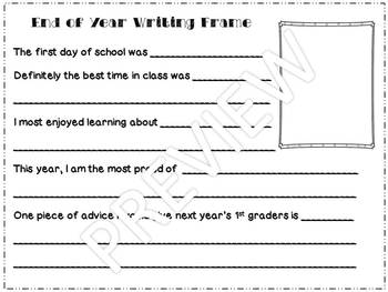 End of Year 1st or 2nd Grade Writing Frame