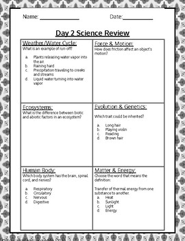 End-of-Year 20 Day 5th Grade Science Review -- NO PREP